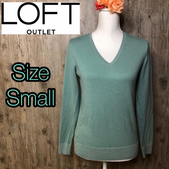 LOFT Tops - LOFT teal green/blue long sleeve v neck shirt